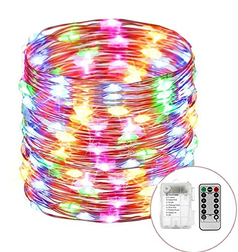 Outdoor String Lights 8 Modes 33ft 100LED Copper Wire Fairy Starry String Lights Battery Powered with Remote Control for Indoor Christmas Waterproof Lighting ()