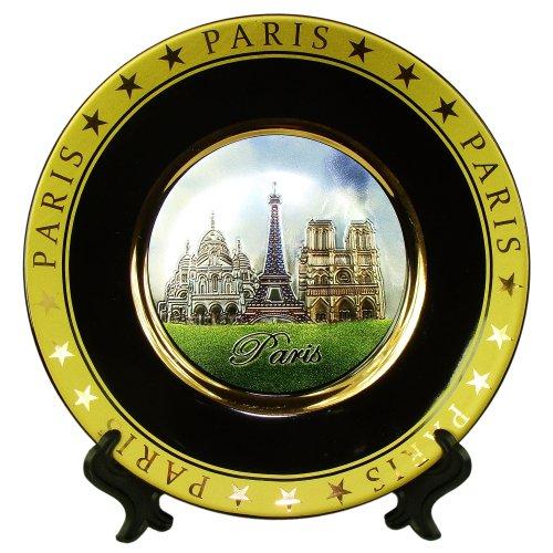 (Souvenirs of France - Paris Monuments Plate in Porcelain - Black, Blue)