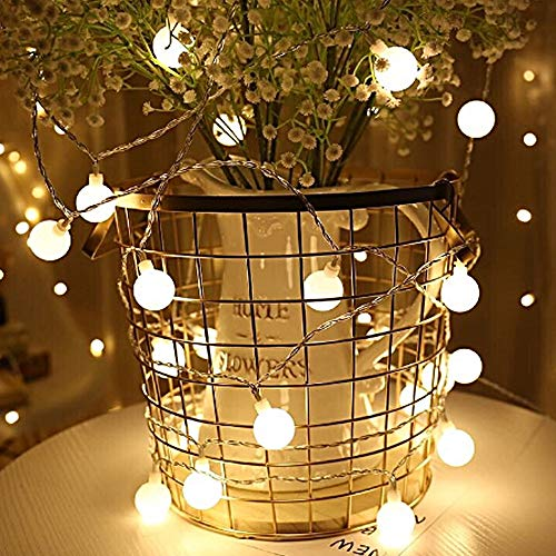 Crystal Bubble Ball String Lights, Battery Powered Led Decorative Fairy String Lights, Solar Crystal Globe String Lights for Party 2 Pack(Warm White) (Warm White)