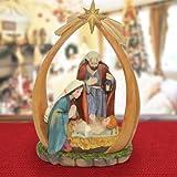 Presepe Sacra Famiglia Con Arco In Resina Natività 21CM Decorazioni Natalizie Natale Festività Addobbi Casa Stella Cometa Nascita gesù Bambino