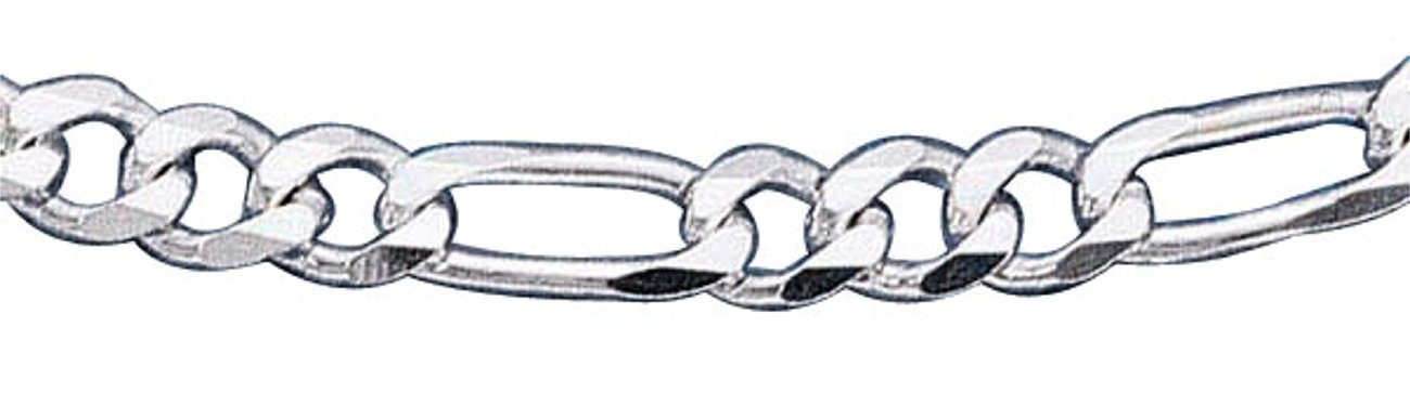 Sterling Silver 20'' Inch 6mm Wide Figaro Chain Link Necklace