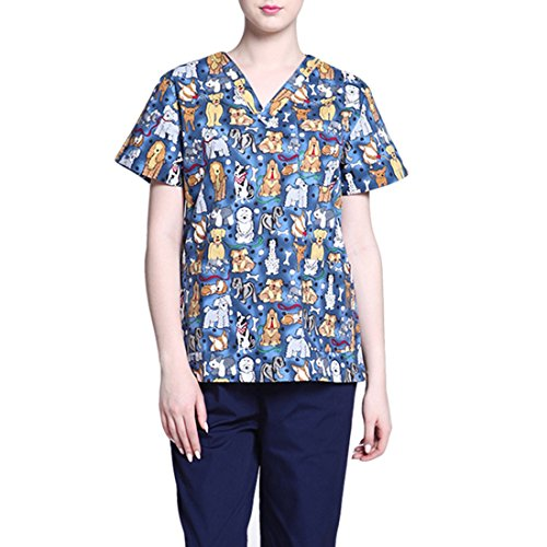 Pinji Nurse Uniform Short Sleeve Suit Surgical Gown V-neck Style Workwear Hospital Cartoon Summer Women M by Pinji (Image #3)