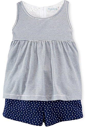 Ralph Lauren Baby Girls 2-Piece Tank & Shorts Set Stripes/Stars (3 Months)