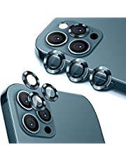 [3PCS]Wsken for iPhone 12 Pro Max Camera Lens Protector (6.7 inch),Premium HD Tempered Glass Metal Ring Aluminum Alloy Lens Screen Cover Film Easy Installation - Blue