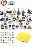 ReBL LLC Stuffed Animals Beanie Boos Bundle Set of Assorted 12 Clips Keychains Plush Toys Party Favors with 12 Animal Puzzle Erasers and 12 Gift Bags