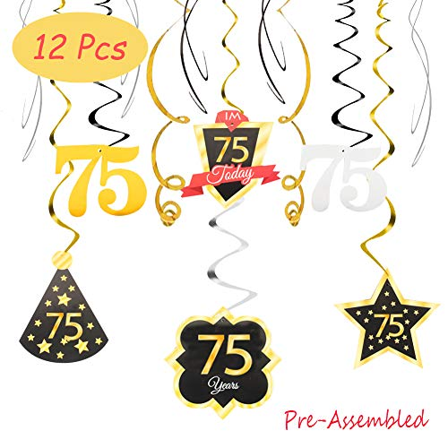 75th Birthday Banner (75 Birthday Decoration Happy 75th Birthday Party Silver Black Gold Foil Hanging Swirl Streamers I'm Seventy-five Years Old Today Birthday Hat Gold Star Ornament Party Present)
