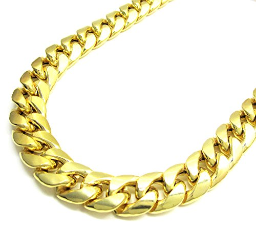10K Yellow Gold Men Women's 13 MM Hollow Miami Cuban Chain lobster Clasp, 18 to 24 Inches by Jawa Fashion
