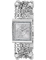 GUESS Womens U0140L1 Pearl Embellished  Silver-Tone Bracelet Watch