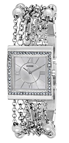 GUESS Women's U0140L1 Pearl Embellished  Silver-Tone Bracelet Watch ()
