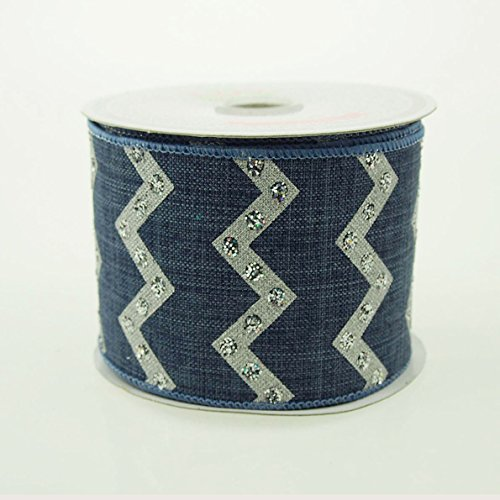 Homeford Firefly Imports Chevron with Glitters Canvas Ribbon, 2-1/2-Inch, 10 Yards, Denim, 2.5
