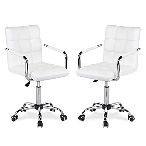 Amazon.com: Yaheetech White Desk Chairs With Wheels/Armes ...