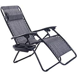 Goplus Folding Zero Gravity Reclining Lounge Chairs Outdoor Beach Patio W/Utility Tray (Grey)