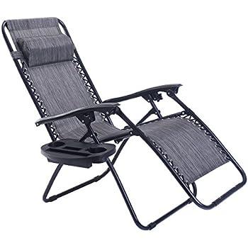 Goplus Folding Zero Gravity Reclining Lounge Chairs Outdoor Beach Patio  W/Utility Tray (Grey
