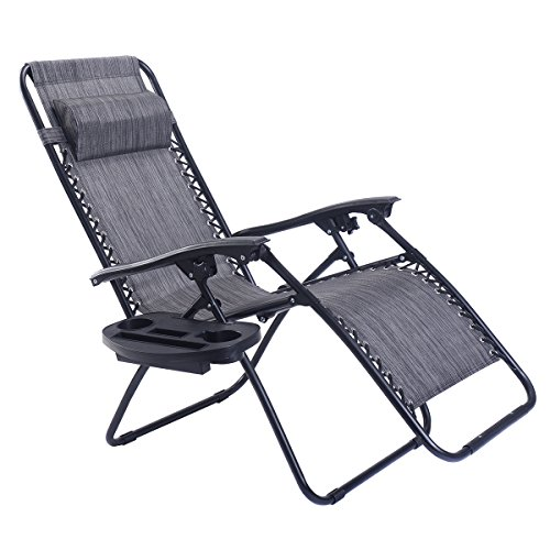 Goplus Folding Zero Gravity Reclining Lounge Chairs Outdoor Beach Patio W/Utility Tray (Outdoor Indoor Lounge Chair)