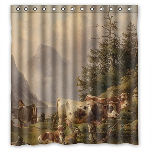 MaSoyy Beautiful Scenery Landscape Painting Bath Curtains Polyester Best For Mother Her Girls Custom Hotel. Easy Clean Width X Height / 72 X 72 Inches / W H 180 By 180 Cm(fabric)