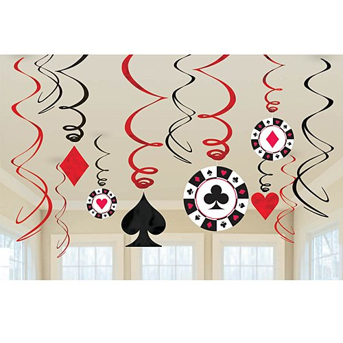 Casino Foil Swirl Hanging Party Decoration, Value Pack of 12 -