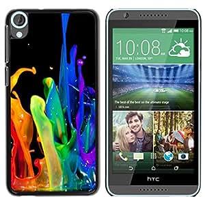 YiPhone /// Prima de resorte delgada de la cubierta del caso de Shell Armor - Dynamic Drop Rainbow Black Gay - HTC Desire 820