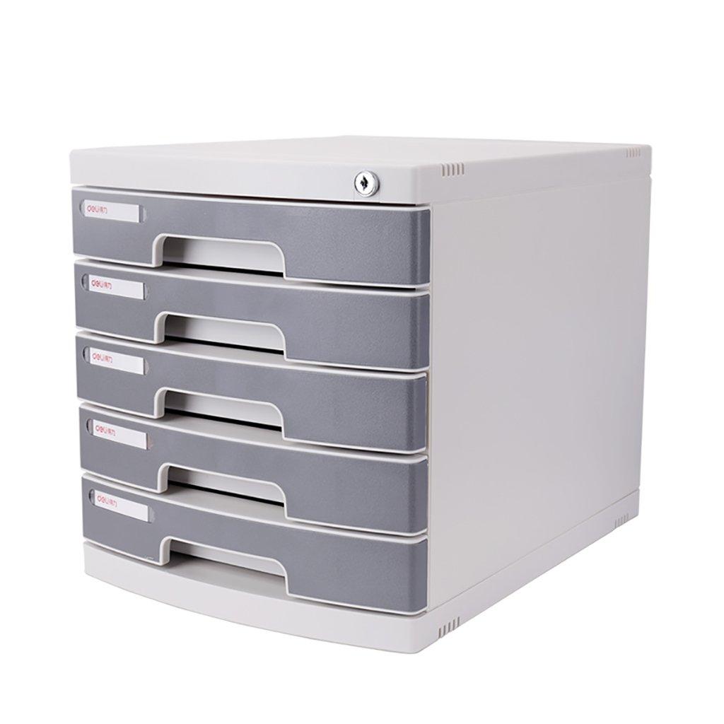 Wanli666 Cassettiera portaoggetti in plastica Cassettiera per scrivania Organizzatore con serratura per armadio per documenti Scatola A4 per ufficio/Colore: grigio (Dimensioni: 395 * 302 * 325mm)