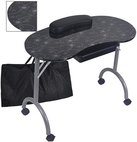PILIBEIBEI Mesa de manicura Estación de Trabajo Plegable portátil ...