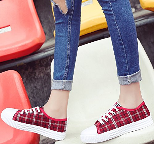 Satuki Canvas Schoenen Voor Dames, Casual Lace Up Comfort Platte Sport Fashion Sneakers Rood