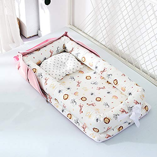 Baby Bassinet for Bed -Animal Kingdom Baby Lounger – Breathable & Hypoallergenic Co-Sleeping Baby Bed Baby Nest – 100…