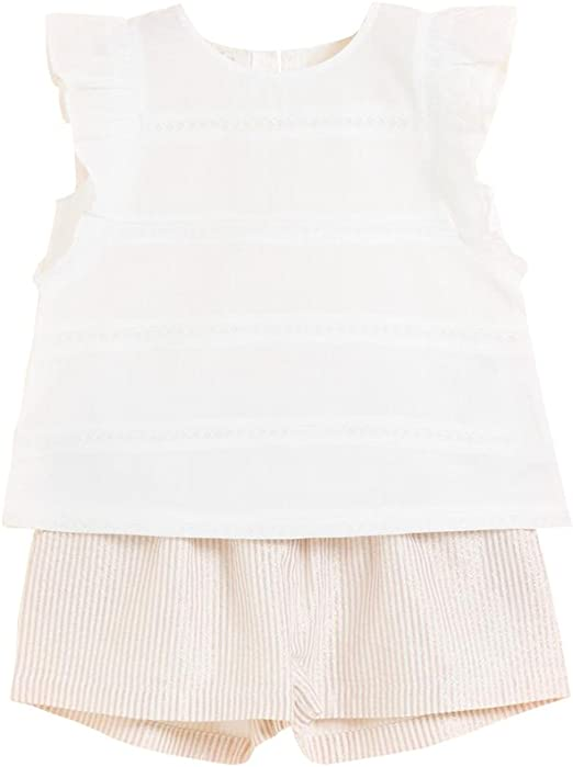 Conjunto niña Blusa Blanca y Short Beige: Amazon.es: Ropa y accesorios