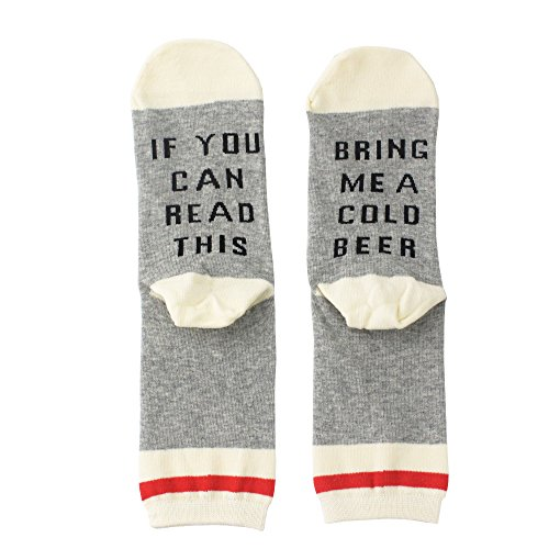 Dotuz Unisex Cotton Funny Crew Socks Funky Cute Wine Party Hosiery For Christmas, Birthdays, Mother or Father Gift, husband, Wife or Friend (White Beer)