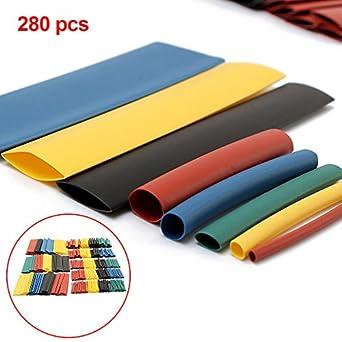 328 un.//set 5 Colores 8 Tamaños Aislamiento Calor Shrink Tubo Wrap surtido 2:1 Kit