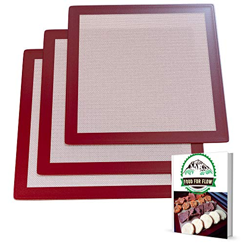 Square Silicone Excalibur Dehydrator Sheets (3-Pack) Healthy, Dehydrated Food, Snacks, Fruit Roll-Ups | Heavy-Duty, Reusable | Heat-Resistant, Non-Stick Surface | Home Kitchen Use | Bonus Recipe Ebook