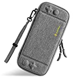 tomtoc Ultra Slim Carrying Case Fit for Nintendo Switch, Original Patent Portable Hard Shell Travel Case Pouch Protective Cover, 10 Game Cartridges, Military Level Protection, Gray