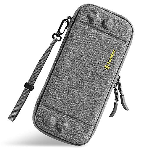 - tomtoc Ultra Slim Carrying Case Fit for Nintendo Switch, Original Patent Portable Hard Shell Travel Case Pouch Protective Cover, 10 Game Cartridges, Military Level Protection, Gray