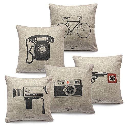 Pillow Cases - Classic Linen Cotton Pillow Case Throw Chion Cover Sofa Decor - Linen Cotton Pillow Case - 18x18 Covers Decorative - - Square In Shops Souvenir Times