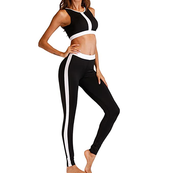 Yying Chandal Mujer Ropa Deportiva Dos Piezas Trotar Conjuntos Gimnasio  Fitness Trajes Yoga Outfit Deporte Crop Top + Sexy Leggings Running  Pantalones ... aa2025884f0b3
