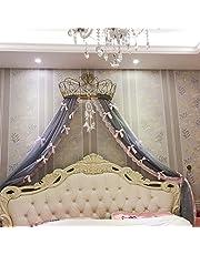 KQCNIFVNKLM Princesa Bed Canopy,Hierro Forjado Europeo Mosquito Colcha Cortinas Cortina Decorativa Corona Red Cortinas
