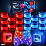Play22 American Capture The Flag Glow in The Dark Game - Capture The Flag Game Up to 14 Players - Capture The Flag Set Includes 14 Bands, 16 Team Lights, 2 Flags - Great Outdoor Gift - Original