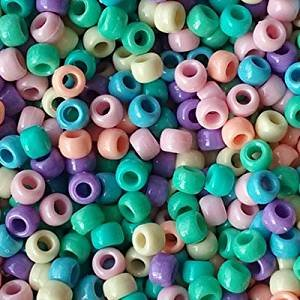 (Pastel Opaque Multicolor Mix Plastic Craft Pony Beads, 6 x 9mm, 500 Beads)