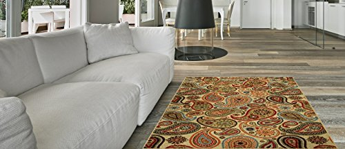 Anti-Bacterial Rubber Back AREA RUGS Non-Skid/Slip 3x5 Floor Rug | Ivory Paisley Floral Indoor/Outdoor Thin Low Profile Living Room Kitchen Hallways Home Decorative Traditional Rug (1'3 Inch Area Rug)