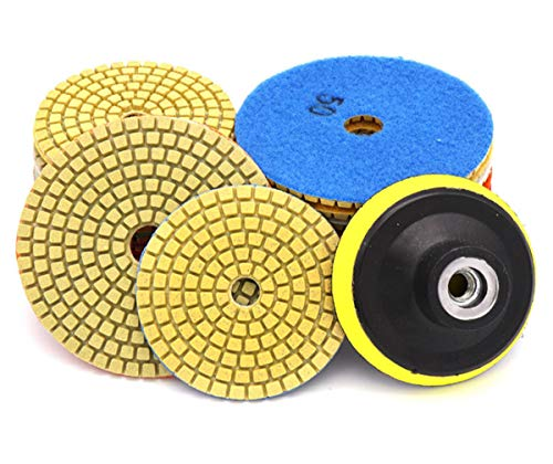 Diamond Polishing Pads for Concrete, 9Pcs 4 inch Dry Pads and 1 Back Holder for Polisher and Finish Granite Stone Marble Concrete Travertine and Terrazo Stone (9Pcs Diamond Pads)