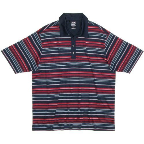 Adidas Mens Climalite Engineered Stripe Relaxed Fit Polo Shirt (X-Large, Navy/Red Velvet/Glacier)