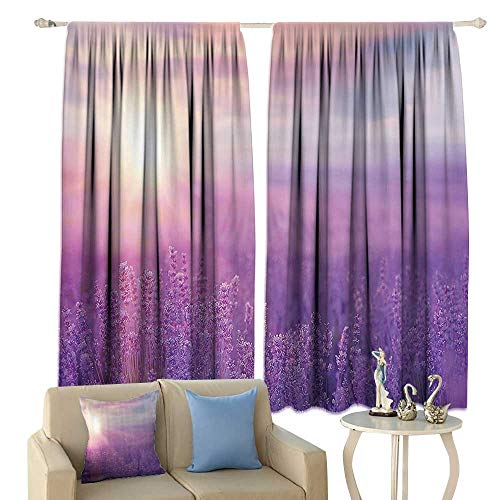 (Nature Decor Blackout Curtains Sunset Horizon Over Lavender Field in French Provence Floral Rural Picture Image Home Garden Bedroom Outdoor Indoor Wall Decorations )