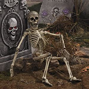 Halloween posable skeleton outdoor garden for Deco exterieur halloween