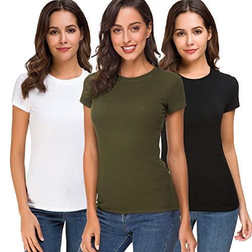 Super Dry Running T-shirt - Acacia Flowers Womens Cotton Knitting Casual Short Sleeve Comfy Fitting Summer Tops Crew-Neck Plain Basic Comfort-Soft Tee-Shirt Women Tight Stretchy Sport Work-Out Dry-Fit Running Multi-Pack T-Shirt