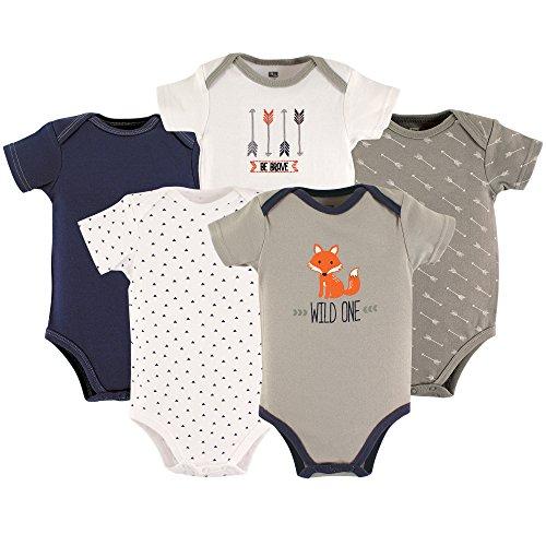 HUDSON BABY Unisex Baby Cotton Bodysuits, Wild One 5 Pack, 12-18 Months (18M)