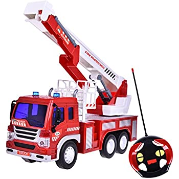 Remote Control Fire Rescue Fighting Truck Vehicle Learning Education Toys 1:16 With Light And Music Six Wheels Batteries Included
