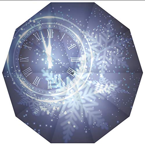 10 Ribs Travel UmbrellaUV Protection Auto Open Close Clock Decor,Countdown to New Year Theme A Clock Holiday Lights and Snowflakes Windproof - Waterproof - Men - Women -Lightweight- 45 inches ()