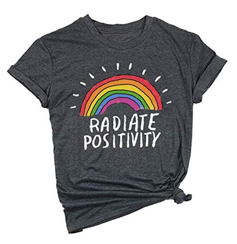 Women Radiate Positivity Rainbow T-Shirt Funny Letter Printed Rainbow Graphic Tee Summer Short Sleeve Shirts Tops Tee Size M (Grey)