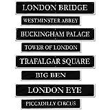 "Beistle 54824 British Street Sign Cutouts (4 Pack), 4"" x 24"", Black/Gray"