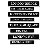 "Beistle 54824 British Street Sign Cutouts (4 Pack), 4"" x 24"", Black/Gray"