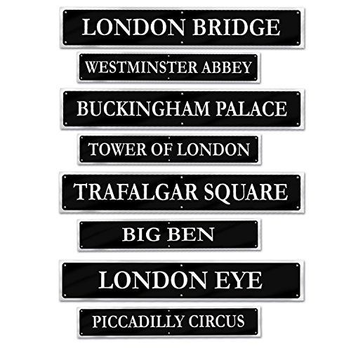 Gray Street Sign (Beistle 54824 British Street Sign Cutouts (4 Pack), 4
