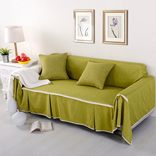 RUGAI-UE Sofa Slipcover Single double fabric living room sofa cover all sofa cloth round full color,Four seater 215x350cm,FM autumn green